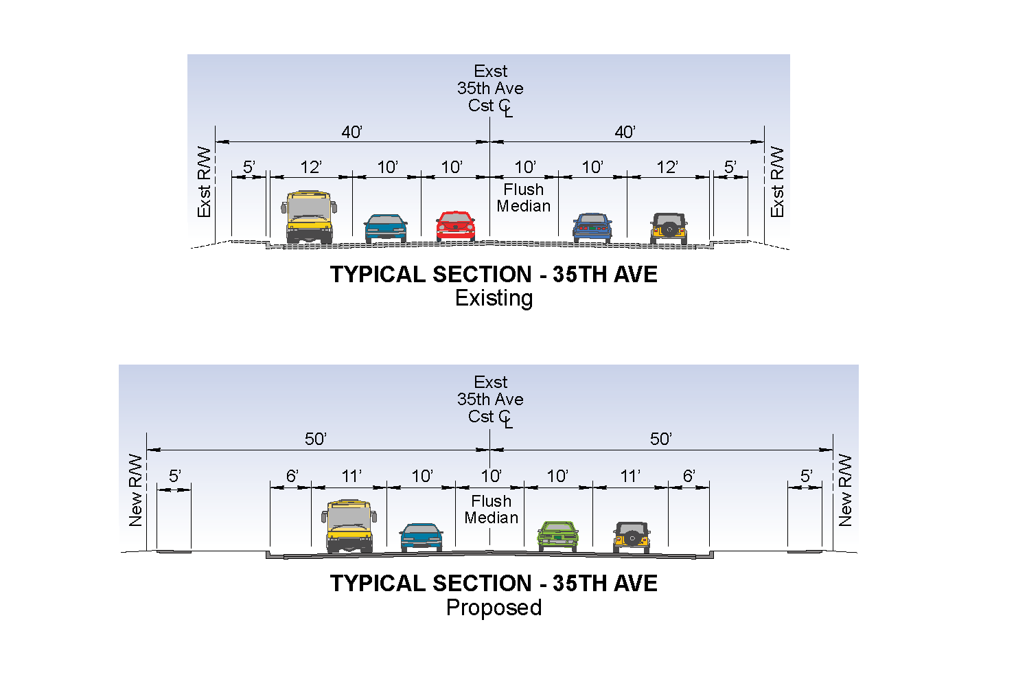 Existing and proposed cross-section diagrams